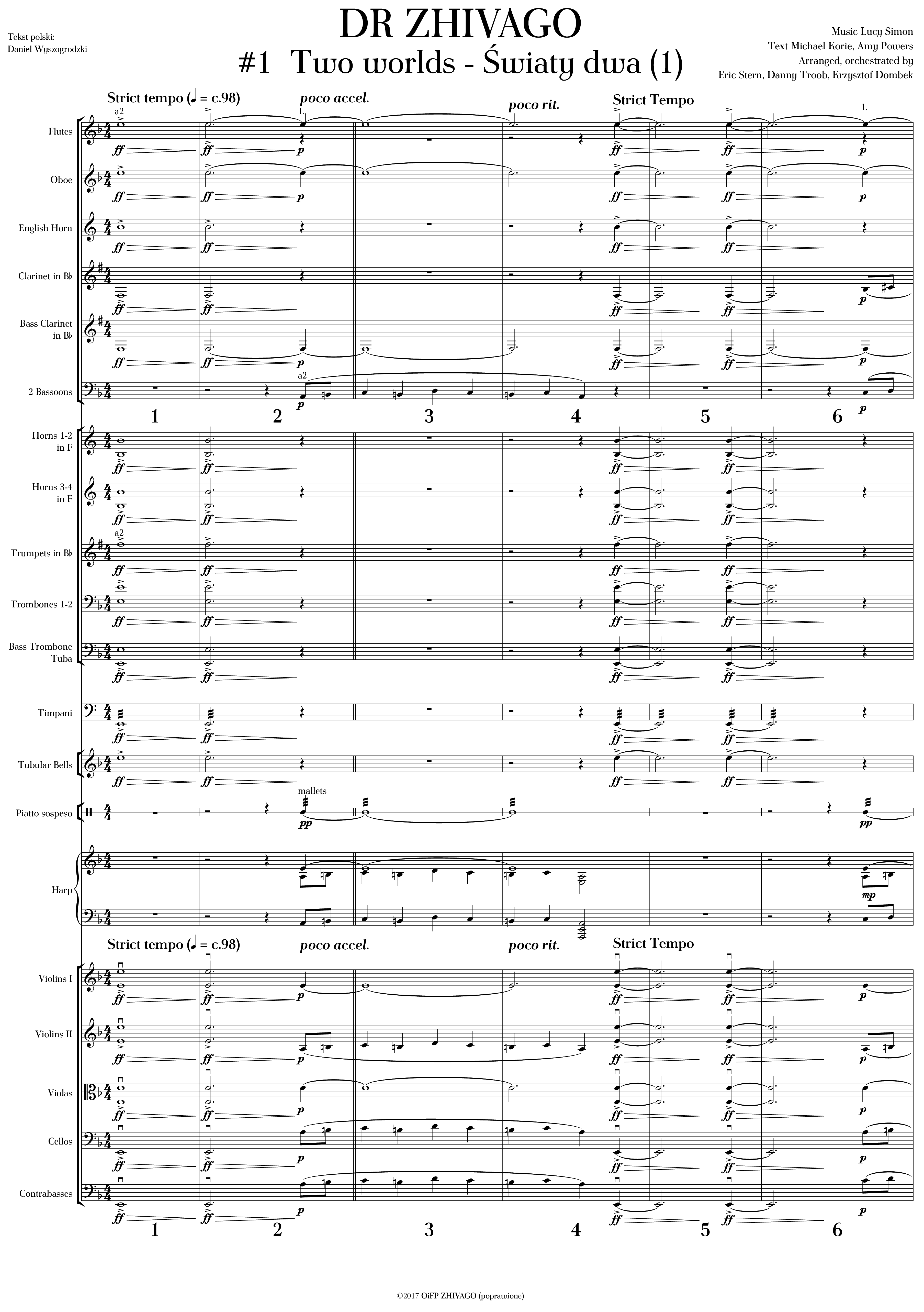 Musical Doctor Zhivago - <i>additional orchestration and all materials</i>